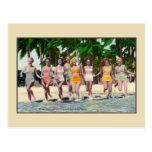 Vintage water nymphs tropical beach Florida Postcard