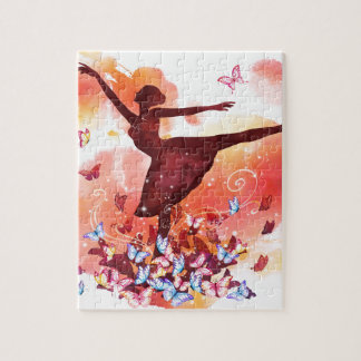 Vintage Watercolor Ballerina Dancer Ballet and But Jigsaw Puzzle