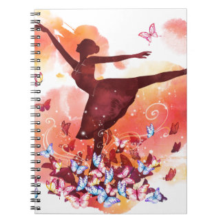 Vintage Watercolor Ballerina Dancer Ballet and But Notebook