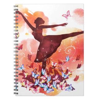 Vintage Watercolor Ballerina Dancer Ballet and But Notebook