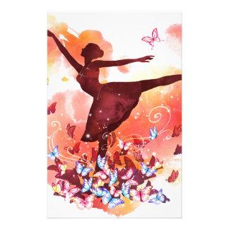 Vintage Watercolor Ballerina Dancer Ballet and But Stationery