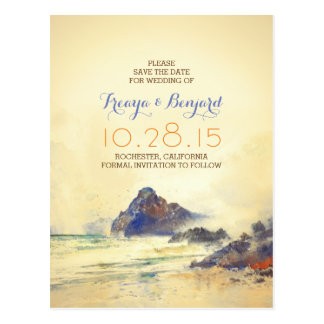 vintage watercolor beach save the date postcards