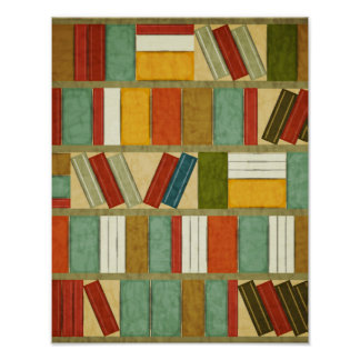 Vintage Watercolor Bookshelf Print