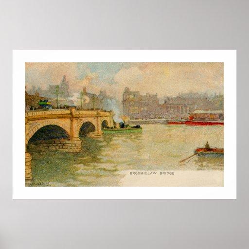 Vintage watercolor Broomielaw bridge Glasgow Print