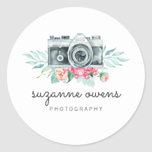 Vintage Watercolor Camera Round Sticker
