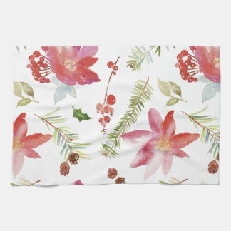 Vintage Watercolor Christmas Florals Tea Towel