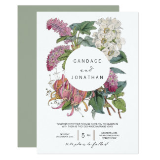 Vintage Watercolor Floral Art Wedding Card