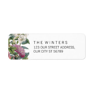 Vintage Watercolor Floral Art Wedding Return Address Label