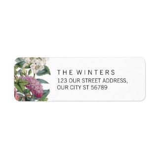 Vintage Watercolor Floral Art Wedding Return Address Label