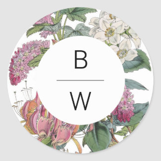 Vintage Watercolor Floral Art Wedding Round Sticker