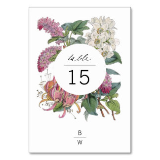 Vintage Watercolor Floral Art Wedding Table Card