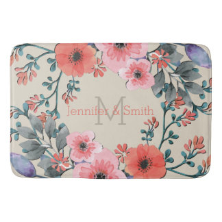 Vintage Watercolor Floral Elegant Monogram Bath Mat