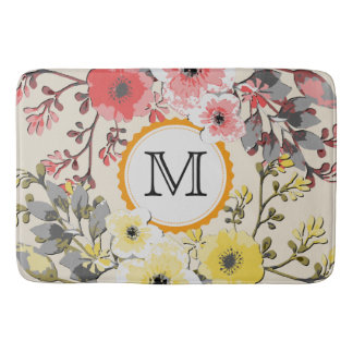 Vintage Watercolor Floral Monogram #12 Bath Mat