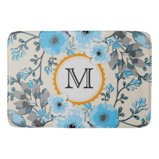 Vintage Watercolor Floral Monogram #19 Bath Mat