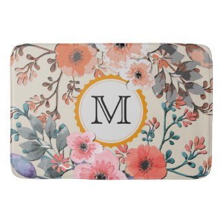 Vintage Watercolor Floral Monogram #29 Bath Mat