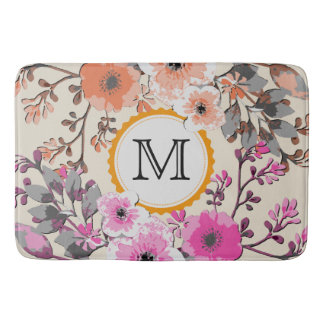 Vintage Watercolor Floral Monogram #5 Bath Mat