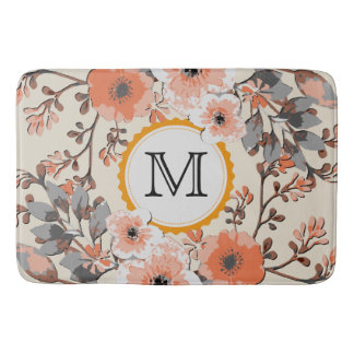Vintage Watercolor Floral Monogram #6 Bath Mat