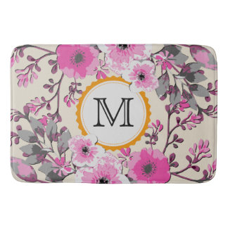 Vintage Watercolor Floral Monogram Bath Mat