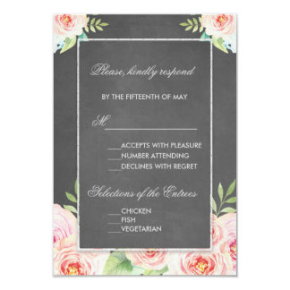 Vintage Watercolor Flowers Chalk Wedding RSVP Card