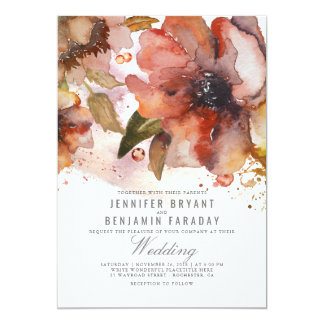 Vintage Watercolor Flowers Fall Wedding Card