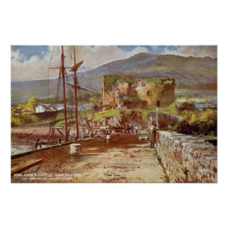 Vintage watercolor King John s Castle Carlingford Poster