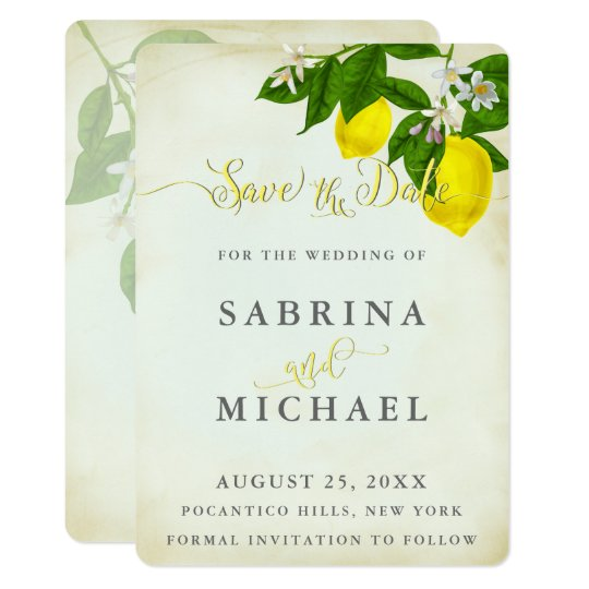 Vintage Watercolor Lemons Save the Date Card