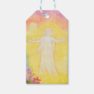 vintage watercolor painting angel and rainbow gift tags