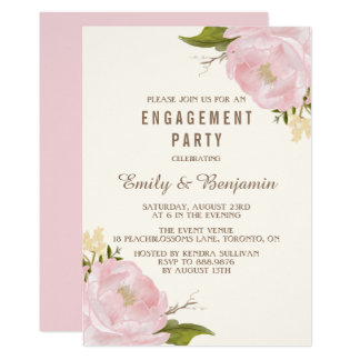 Vintage Watercolor Peonies Engagement Party Card