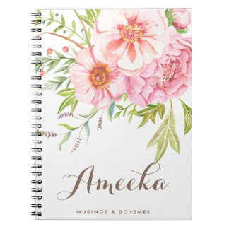 Vintage Watercolor Peonies Personalized Notebook