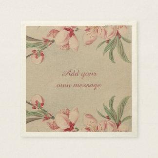 Vintage Watercolor Pink Floral Disposable Serviette