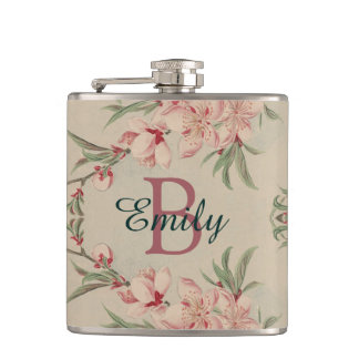 Vintage Watercolor Pink Floral Hip Flask