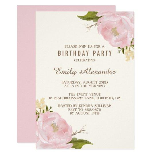 Vintage Watercolor Pink Peonies Birthday Party Card