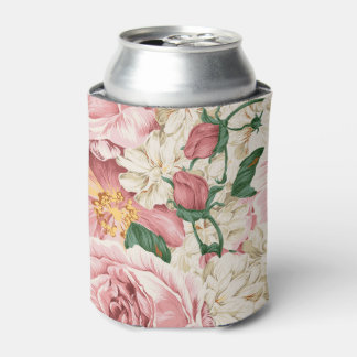 Vintage Watercolor Pink Peonies Floral Can Cooler