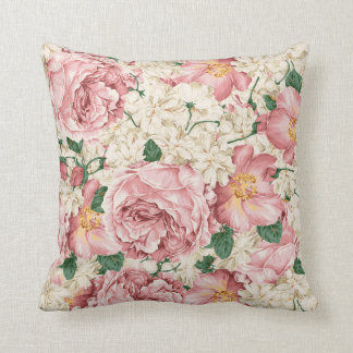Vintage Watercolor Pink Peonies Floral Pillow