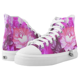 Vintage Watercolor Roses Flowers High Top Shoes