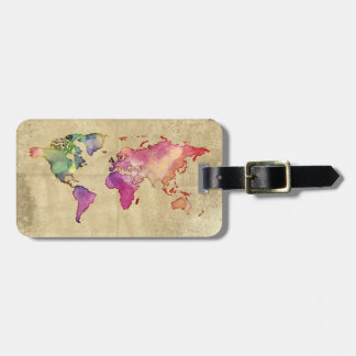 Vintage Watercolor Travel World Map Luggage Tag