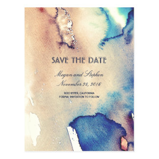 Vintage Watercolors Beach Elegant Save The Date Postcard