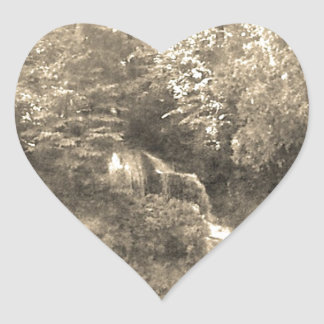 Vintage Waterfall Heart Sticker