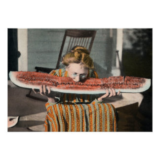 Vintage Watermelon Eating poster