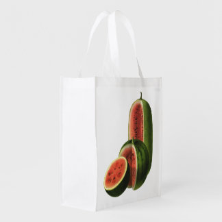 Vintage Watermelons Tall Round, Organic Food Fruit Reusable Grocery Bag