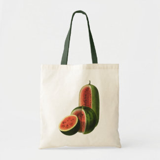 Vintage Watermelons Tall Round, Organic Food Fruit Tote Bag