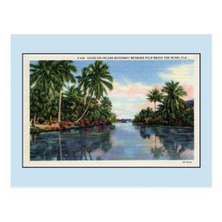 Vintage Waterway between Miami and Palm Beach Postcard