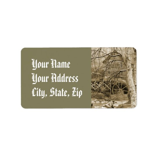 Vintage Waterwheel Address Label