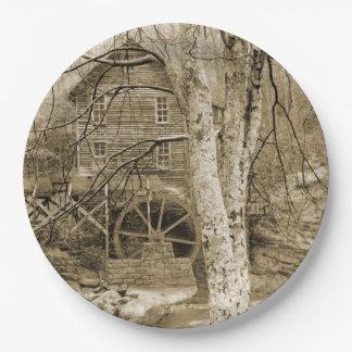 Vintage Waterwheel 9 Inch Paper Plate
