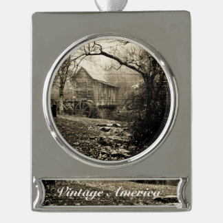 Vintage Waterwheel Silver Plated Banner Ornament
