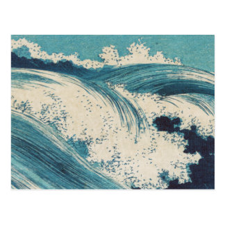 Vintage Waves Japanese Woodcut Ocean Postcard