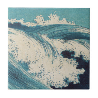 Vintage Waves Japanese Woodcut Ocean Tile
