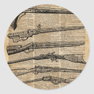Vintage Weapons Antique Guns Dictionary Art Classic Round Sticker