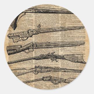 Vintage Weapons Antique Guns Dictionary Art Round Sticker
