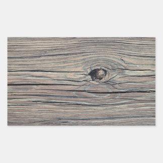 Vintage Weathered Wood Background - Old Wooden Rectangular Sticker